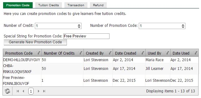 Creating Promotion Codes