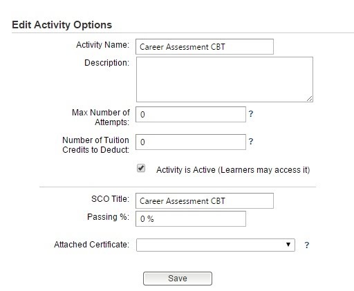 Edit Activity Options