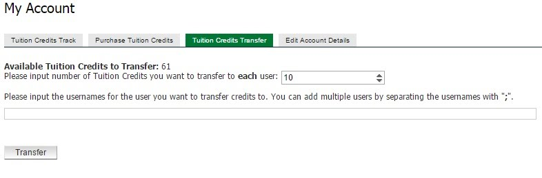 Tuition credit transfers
