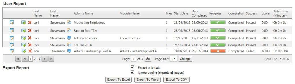 User Training Record