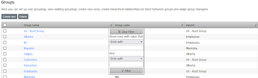 filter and sort groups